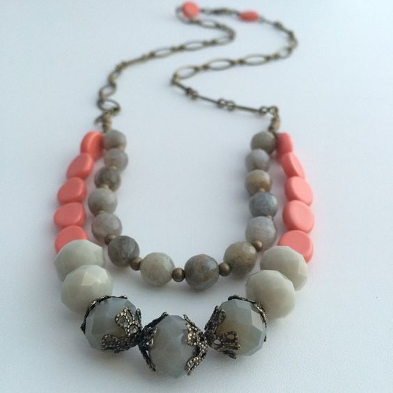 """Coral and Grey necklace 