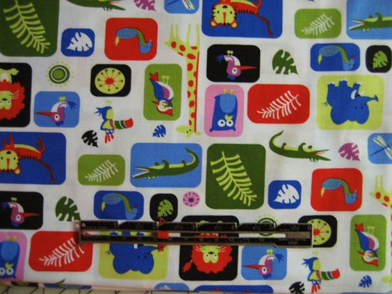 Michael Miller Fabric Jungle Box 1 Yard Woven Cotton Animals on White