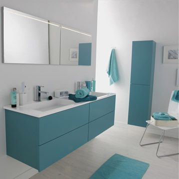 meuble de salle de bains cosmo bleu atoll n3 leroy merlin - Meuble Salle De Bain Bleu