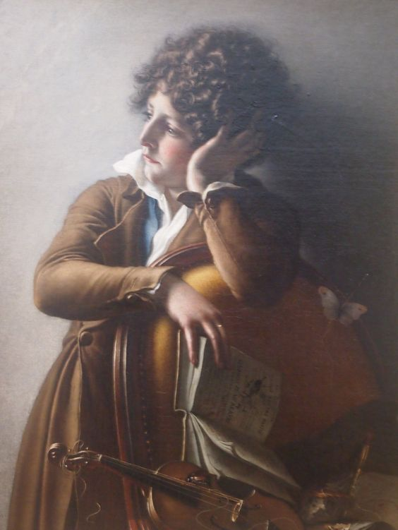 Girodet painted this picture for the Salon of 1800, which is the year when Napoleon as the First Consul declared amnesty, allowing thousands of emigrants to return without fear of execution. Things went back to normal, yet when we examine this picture in detail, we see a pinned down butterfly, broken strings, a monster doodled in the book. This kid does not feel like doing his homework; he has seen a lot.