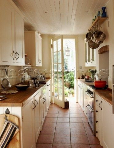 Narrow galley kitchen with door opening onto garden. My kitchen is a wee bit wider but I like the look overall. Nice ceiling, too.