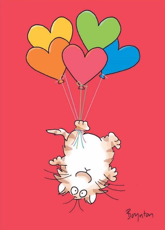 Valentine cat with heart-shaped balloons; Sandra Boynton