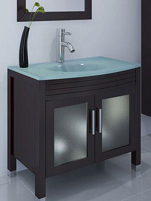 "35.5"" ludwig glass sink bathroom vanity: <br><br><br> the ludwig"