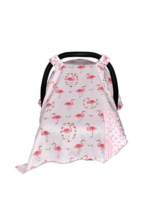 Premium Cotton Car Seat Cover Baby Car Seat Cover Flamingos on Cream Car Seat Canopy New Mom Gift