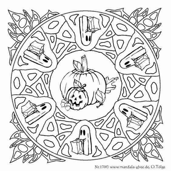 Another halloween mandala mandala pinterest mandalas for Free halloween mandala coloring pages
