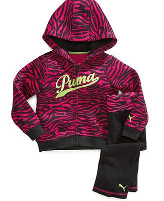 Puma Baby Set, Baby Girls 2-Piece Hooded Jacket and Yoga Pants