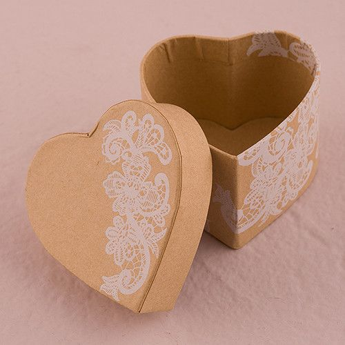 Heart Kraft Paper Favor Box with Vintage Lace Print Chocolate Brown