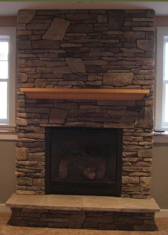 Gas fireplace with cultured stone house decor - Stone and wood fireplace ...