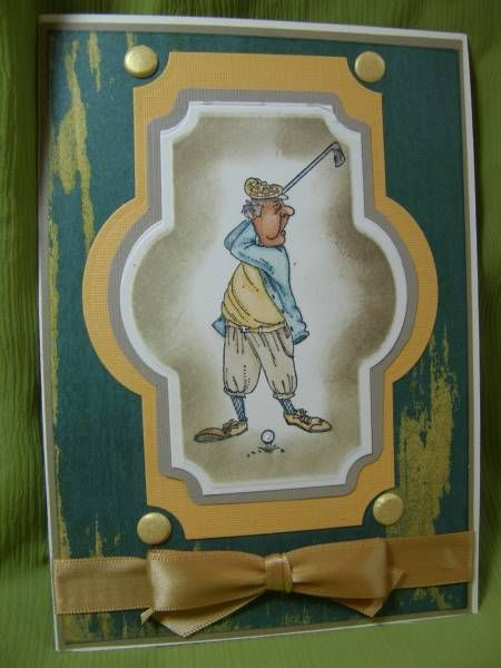 Art Impressions Stamps: I always love masculine card ideas...great for Father's Day or a birthday card.  My hubby's family are all golfers so this is perfect. Earl (Sku#L1242)