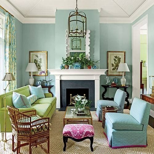 Great Room Paint Aqua Blue Green Pink Color Palette Living