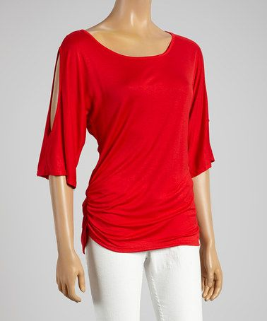 Another great find on #zulily! Red Ruched Cutout Top by ARIA FASHION USA #zulilyfinds