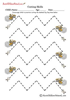 Worksheets Lines To Cut For Preschoolers 16 printable cutting sheets includingstraight lines zig zag curvy