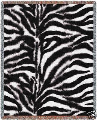 70x53 ZEBRA Jungle Skin Print Jacquard Throw Blanket