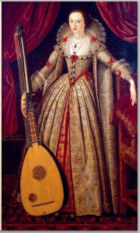 c.1620 attr. to John de Critz: Mary (Sidney), Lady Wroth, holding a theorbo.(1587–1651/3) English poet, known for The Countesse of Mountgomeries Urania, 1st extant prose romance by an English woman. Dau. of Barbara Gamage, (1st cousin to Sir Walter Raleigh) & Robert Sidney, 1st Earl of Leicester  poet, governor of Flushing, Netherlands. Lady Wroth: niece to Mary Herbert née Sidney, Countess of Pembroke, a distinguished writer, & to Sir Philip Sidney, poet-courtier.