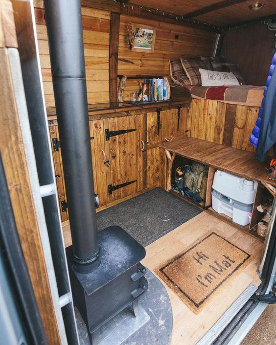 Rustic wooden interior of my Vauxhall Movano camper van