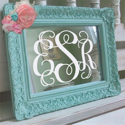 Fancy Vinyl Monogram applied to Mirror- I need a Cricut (or other awesome cutting machine)!