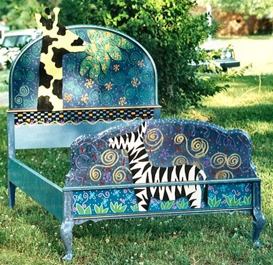 Hand painted bed by Mary Wright of Wright Originals Whimsical Designs in Southern Pines, NC