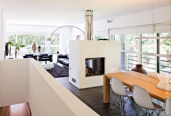 Deco comment and photos on pinterest for Cheminee interieur moderne