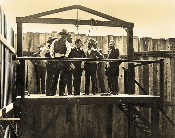 On June 3, 1898, James Fleming Parker became the last man hanged at the Courthouse Plaza in Prescott, Arizona. The train robber was in the Yavapai County Jail when he shot and killed Assistant District Attorney Erasmus Lee Norris during an escape attempt, a crime that sent him to the scaffold. – Courtesy Sharlot Hall Museum –