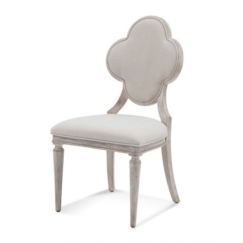Antique White Finish Clover Quatrefoil Back Dining Chair In 2020