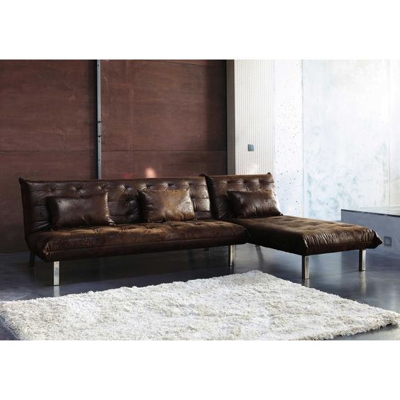 Canap d 39 angle convertible 4 places imitation cuir marron for Canape loft maison du monde