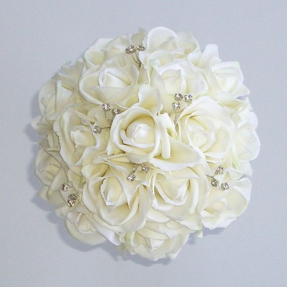 White Rose Bouquet with Sparkling Crystals