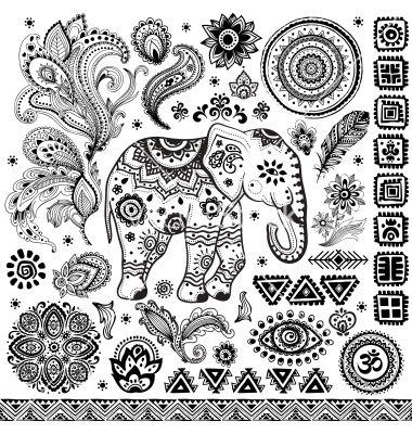 Tribal vintage ethnic pattern set