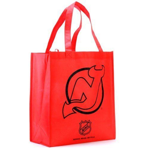 """NHL New Jersey Devils Red Reusable Tote Bag by Football Fanatics. Save 1 Off!. $1.99. New Jersey Devils Red Reusable Tote BagTwo carry handlesOfficially licensed NHL product100% Non-woven polypropylene fabricReusable bagLocker loopApproximately 6"""" W x 13"""" L x 14.5"""" HImportedScreen print graphicsReusable bagScreen print graphicsTwo carry handlesLocker loopApproximately 6"""" W x 13"""" L x 14.5"""" HImported100% Non-woven polypropylene fabricOfficially licensed NHL product"""
