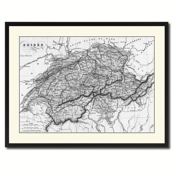 Switzerland Vintage B W Map Canvas Print Picture Frame