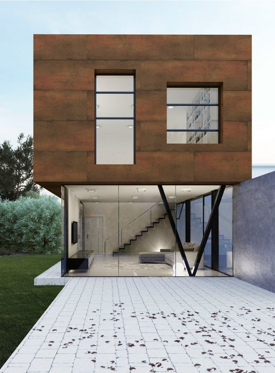 Ultra thin outdoor wall tiles with metal effect, steel corten by Levantina