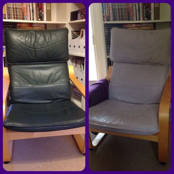 Green leather annie sloan and wax on pinterest - Poang chair leather ...