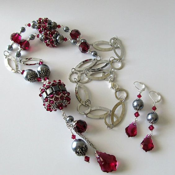 Necklace and earrings beaded beads ruby by PacificJewelryDesign, $135.00