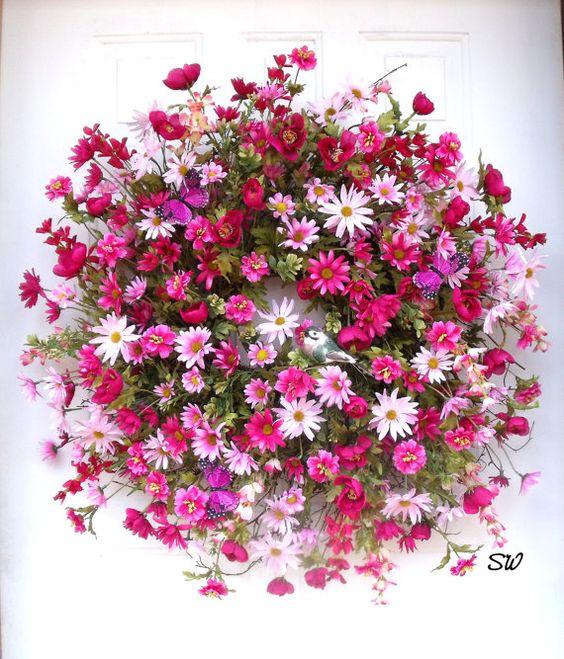 Spring Wreath Daisy Wreath Pink Daisy Wreath by SeasonalWreaths