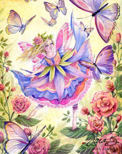 Jardín Ballet  Art Print  mariposa Rosaleda retrato en