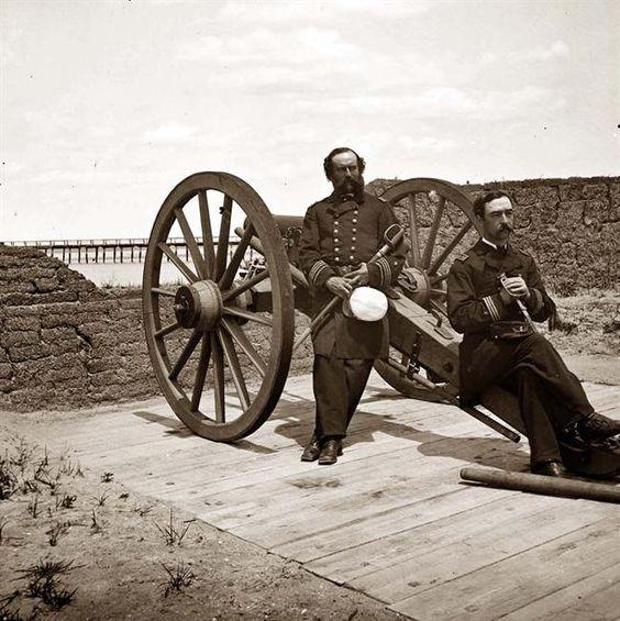 Sullivan's Island, S.C. Lieutenant Comdr. Edward Barrett and Lieutenant Cornelius N. Schoonmaker