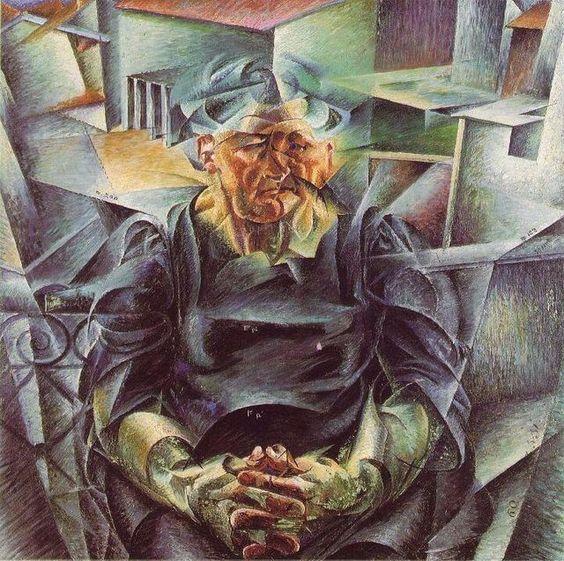 """Horizontal Volumes"".  (1915). (by Umberto Boccioni)."