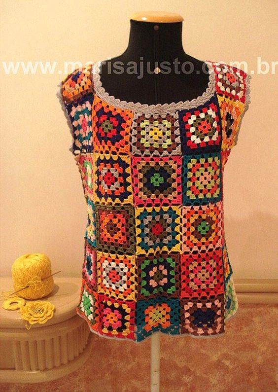 Blusa crochet a mão, confeccionada em squares coloridos, em algodão 100% mercerizado.