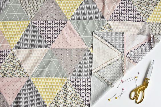 DIY | Näh-Anleitung Babydecke mit Dreieck-Muster selber nähen - Baby Quilt | sewing tutorial triangle baby blanket | luzia pimpinella