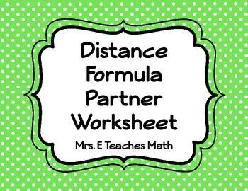distance formula partner worksheet distance and worksheets. Black Bedroom Furniture Sets. Home Design Ideas