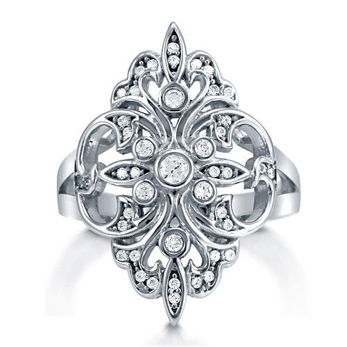Cubic Zirconia CZ 925 Sterling Silver Fancy Fleur De Lis Fashion Ring