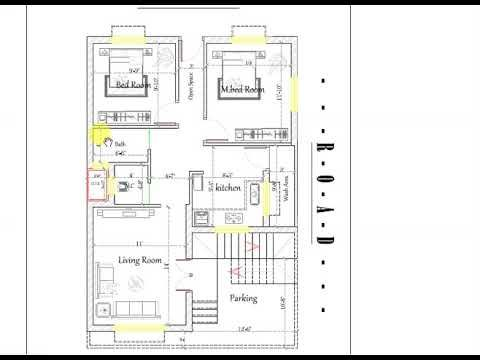25x40 Ft 2 Bhk House Map In South Face Plot House Map South Facing House Plot Plan