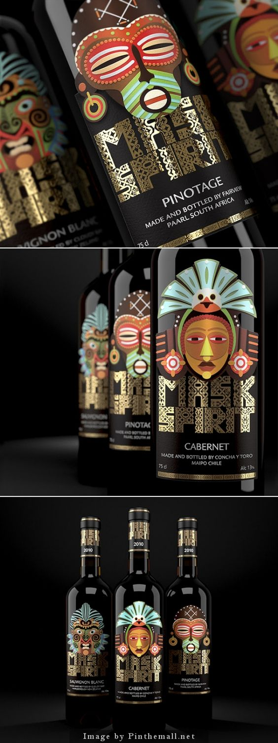 Mask Spirit. Collection of New World Wines Creative agency: BRANDIZIAC Client: VinProdService LLC Creative director: Artem Shutov Art-director: Eugeniy Kalashnikov Illustrator: Sergey Ermakov Location: Russia