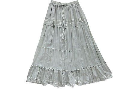 BOHO PEASANT SKIRTS GRAY COLOR 4 TIERED LACE WORK GYPSY HIPPIE LONG SKIRT 36""