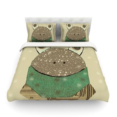 East Urban Home Frog by Bri Buckley Featherweight Duvet Cover Size: