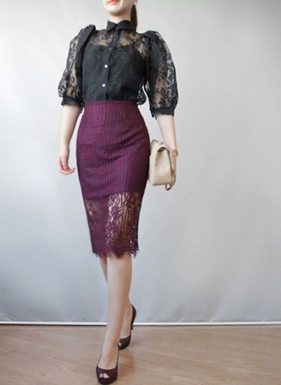 Back zip floral wine lace striped midi skirt office Knee-Length ...