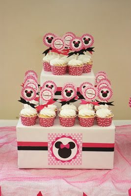 5M Creations: Minnie's Bowtique Inspired Birthday Party, Minnie Cupcake Toppers