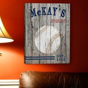 "I like the idea of this saying ""Kazden's Dugout"" Baseball Wall Art"