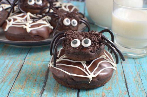 chocolate pumpkin spider doughnuts