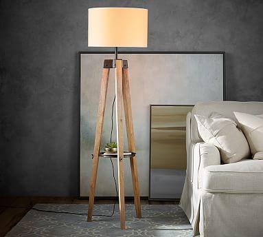 Miles Tripod Floor Lamp Walnut Bronze Lighting Floor Lamps