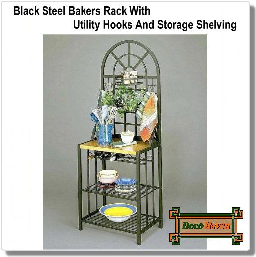 Black Steel Bakers Rack With Utility Hooks And Storage Shelving